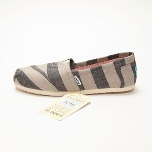 Toms Classic Gray Striped Canvas Shoes